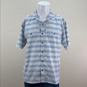 Mens Patagonia Blue Striped Short Sleeve Button Up